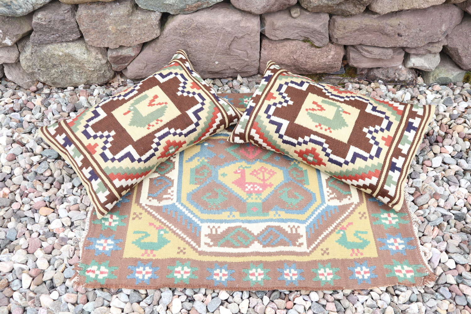 Scandinavian / Swedish Folk Art Röllakan Cushions & Wall hanging 1941