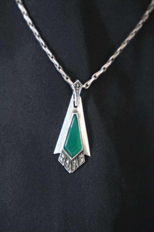 Art Deco silver, marcasite & green chrysoprase pendant c.1930.