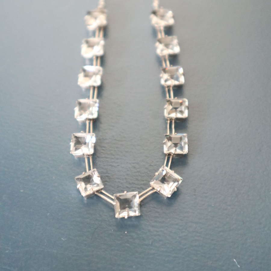 Art Deco sterling silver necklace, square facet cut glass C.1939