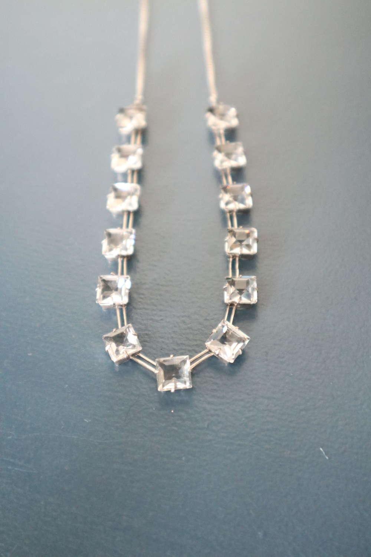 Art Deco sterling silver necklace, square facet cut glass C.1939
