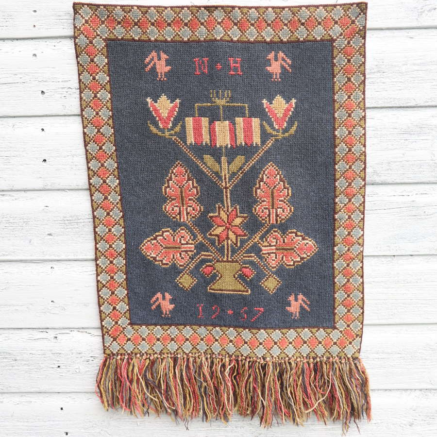 Scandinavian / Swedish Vintage Folk Art Hand Woven Wall Hanging.