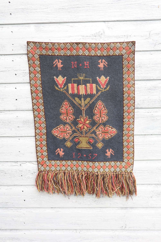 Scandinavian / Swedish Vintage Folk Art Hand Woven Wall Hanging.