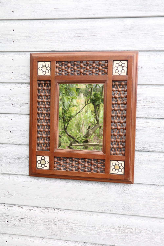 Arts & Crafts 'Moorish' Mashrabiya panel & geometric inlay frame c1910