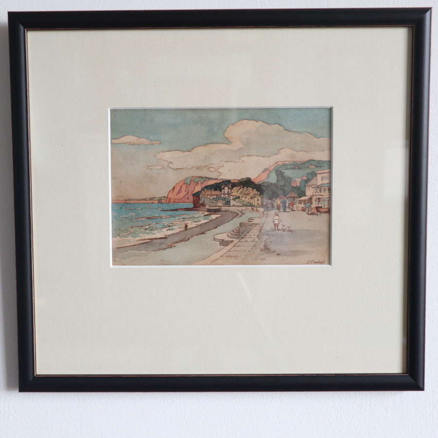 Art Deco Marinescape / seaside promenade watercolour J Crocker c.1935.