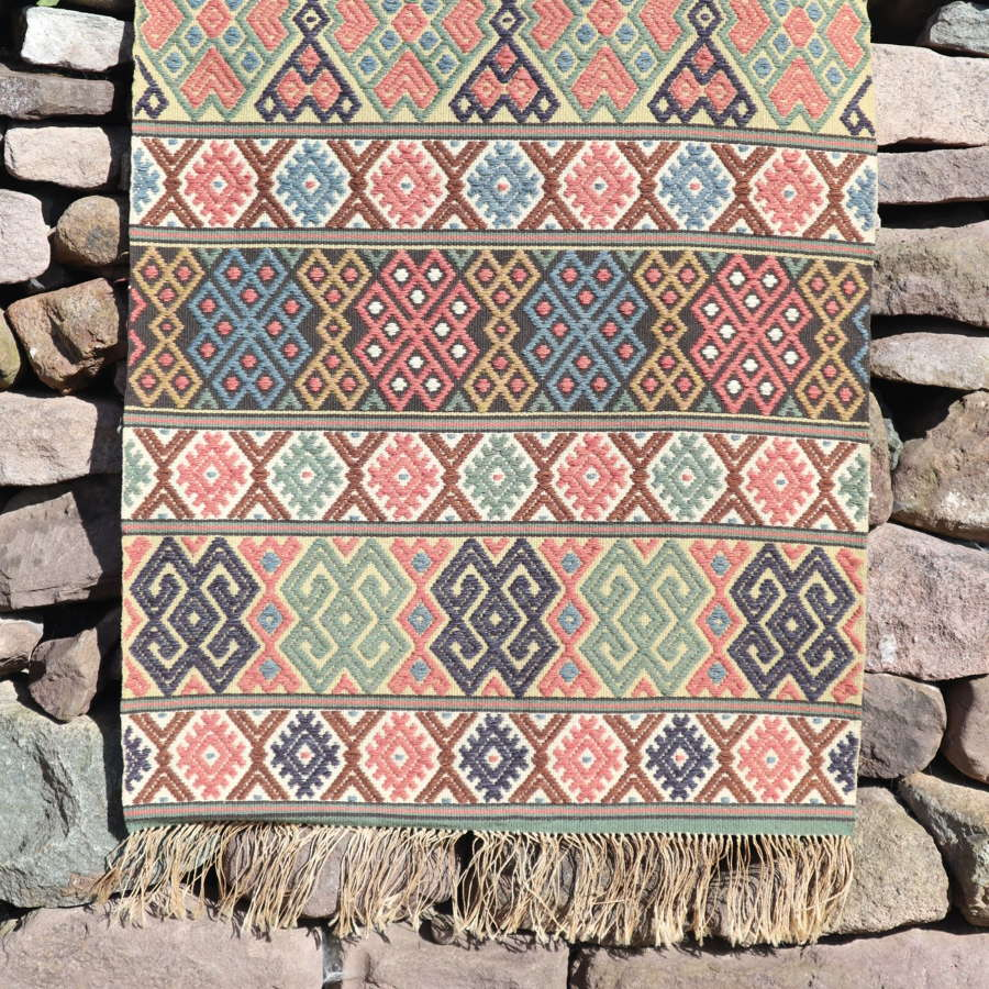 "Swedish Folk Art ""Krabbasnår"" woven bench runner, late 19th Centu"