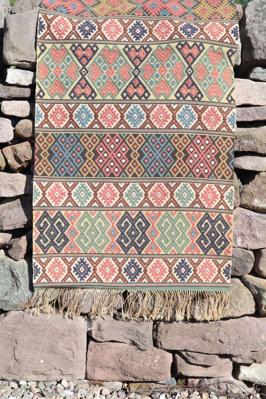 """Swedish Folk Art """"Krabbasnår"""" woven bench runner, late 19th Centu"""