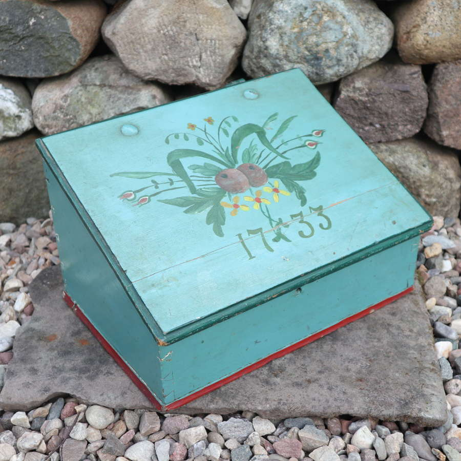 Swedish 'Folk Art' painted writing slope / desk box, marked 1733.