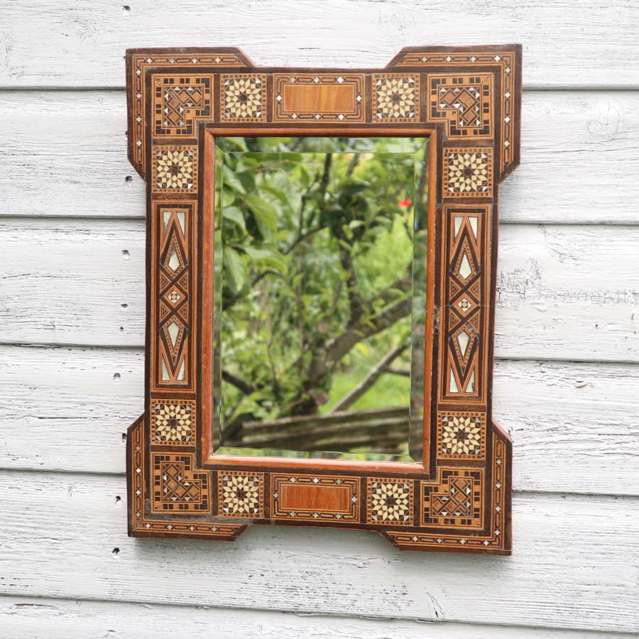 Moroccan, Mother of Pearl mosaic inlay & parquetry frame mirror c.1925