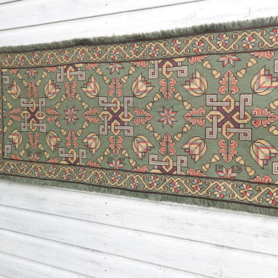 Swedish 'Folk Art' Skåne Region, woven floral & geometric runner 1936