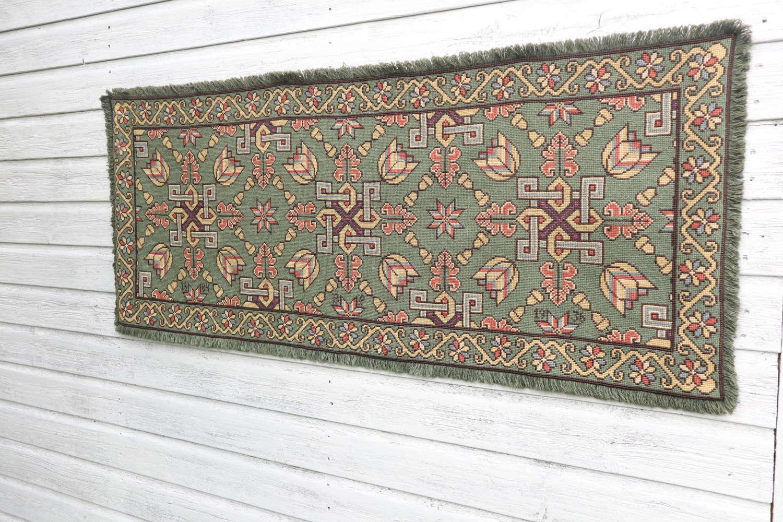 Swedish 'Folk Art' Skåne Region, woven floral & geometric runner 1936