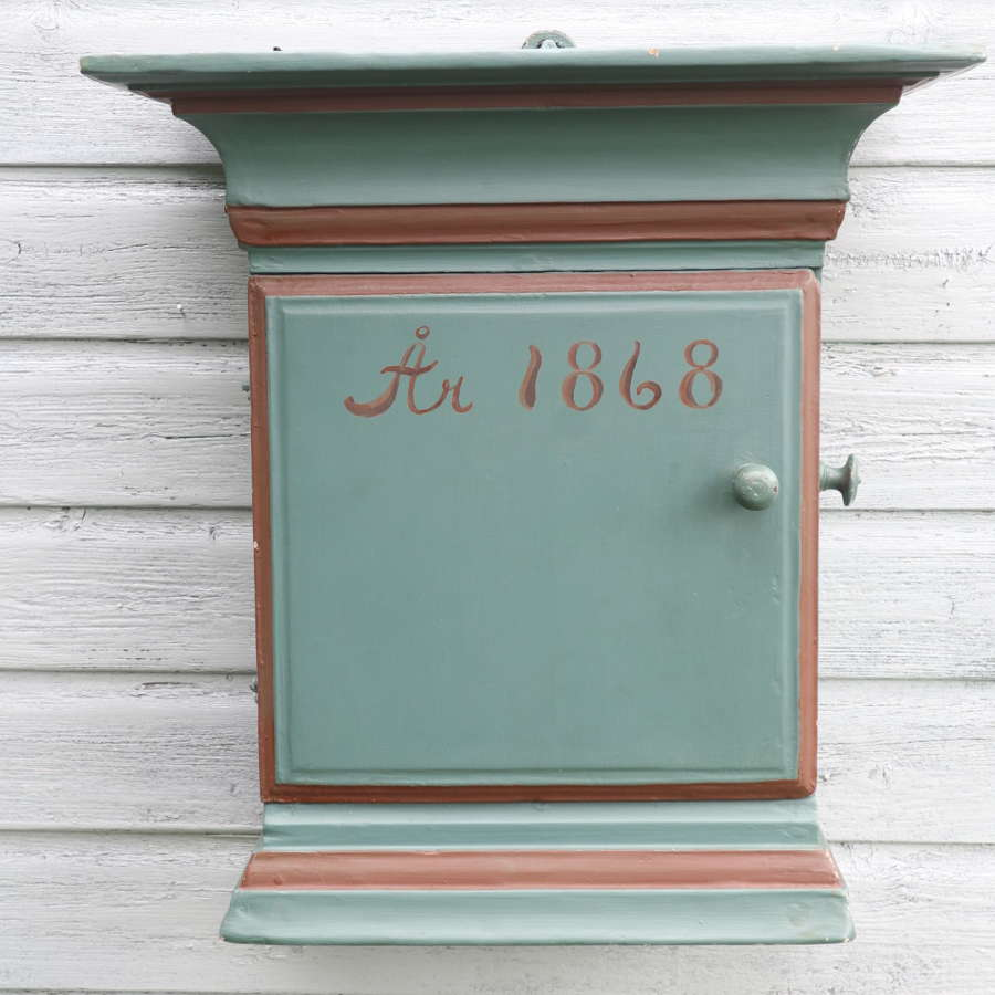 Swedish 'Folk Art' painted pine, hanging wall cabinet c.1868