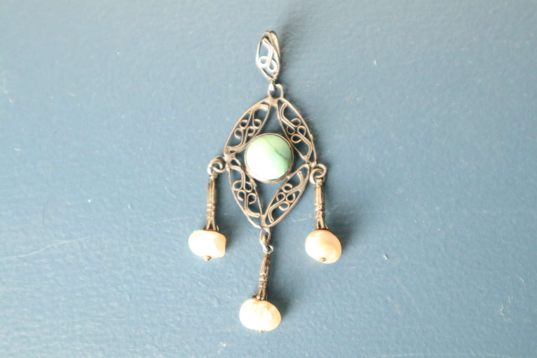 Art Nouveau Silver metal, filigree Turquoise & pearl pendant c. 1910.