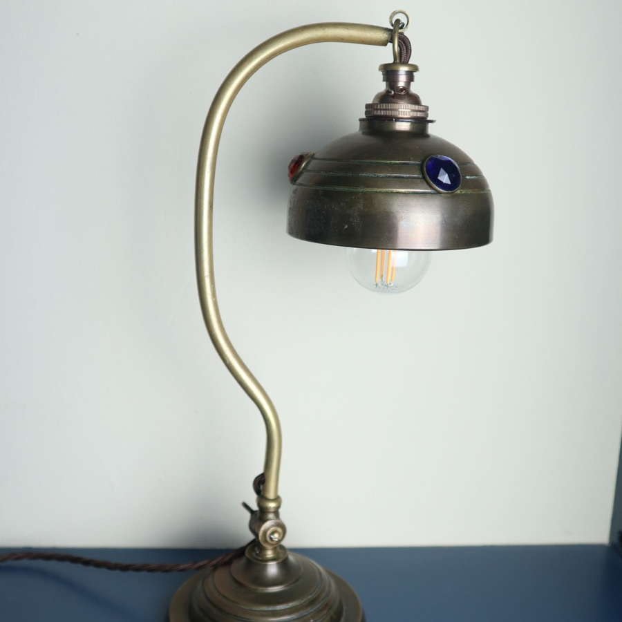 Art & Crafts, Brass & Coloured Glass Jewel, Table/Desk Lamp c1910.