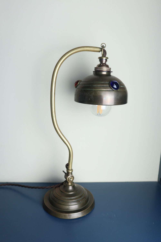 Art & Crafts, Brass & Coloured Glass Jewel, Table/Desk Lamp c1910.