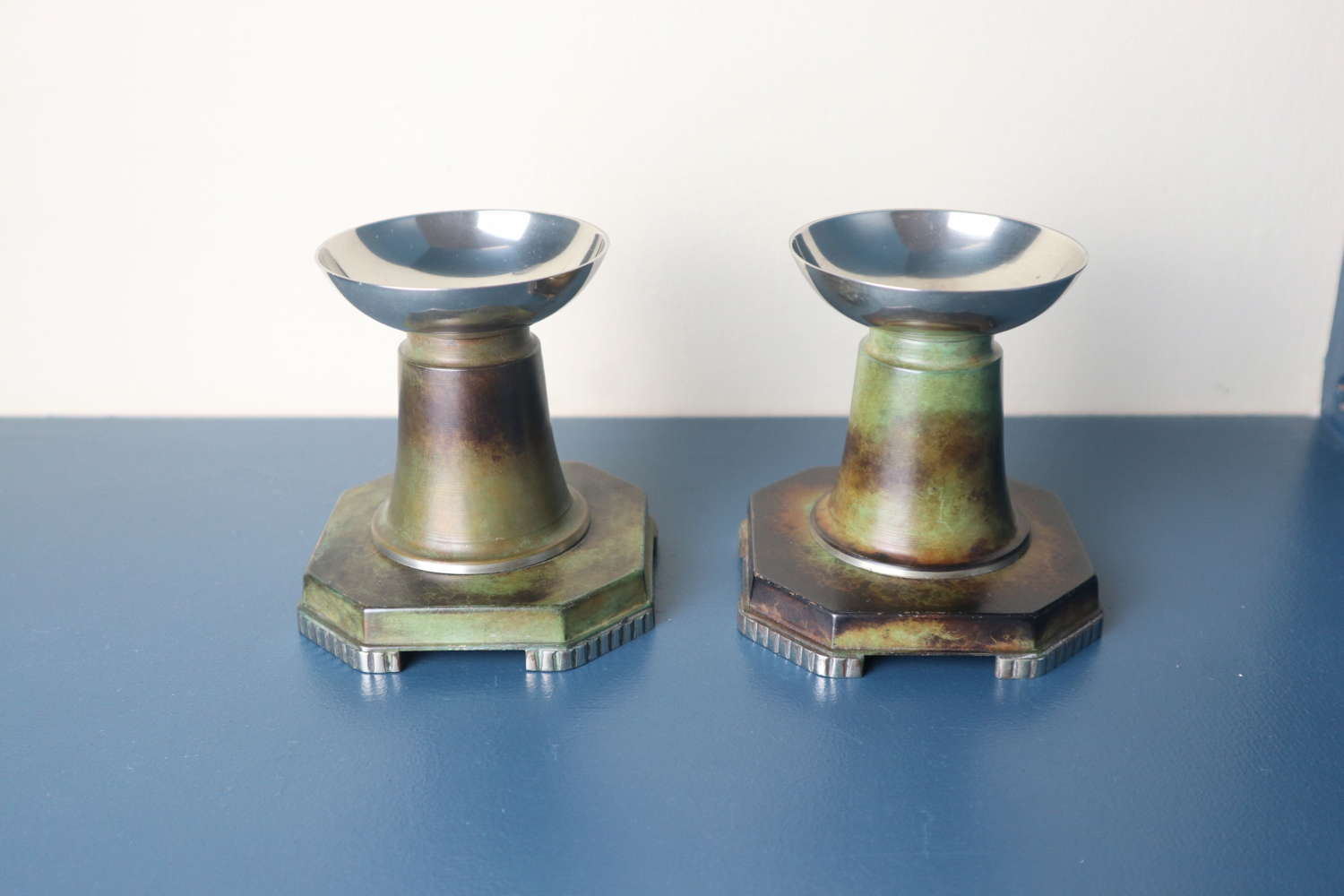 Art Deco pair of Swedish patinated bronze candle holders c.1935-42.