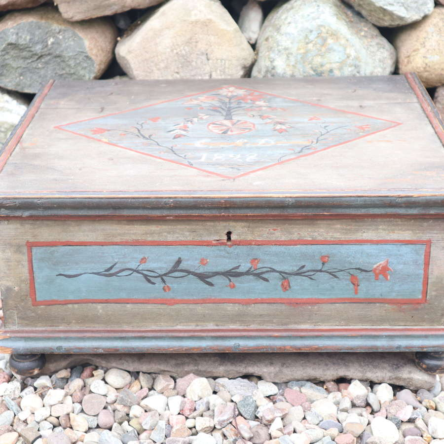 Swedish 'Folk Art' pine alms box, grey marbling, rosmålning 1828.