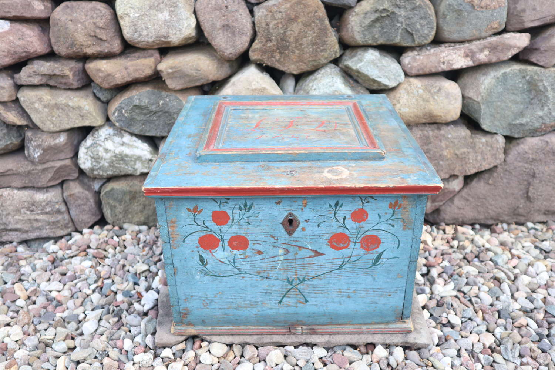 Swedish 'folk art' original blue paint box Hälsingland region, 1847.