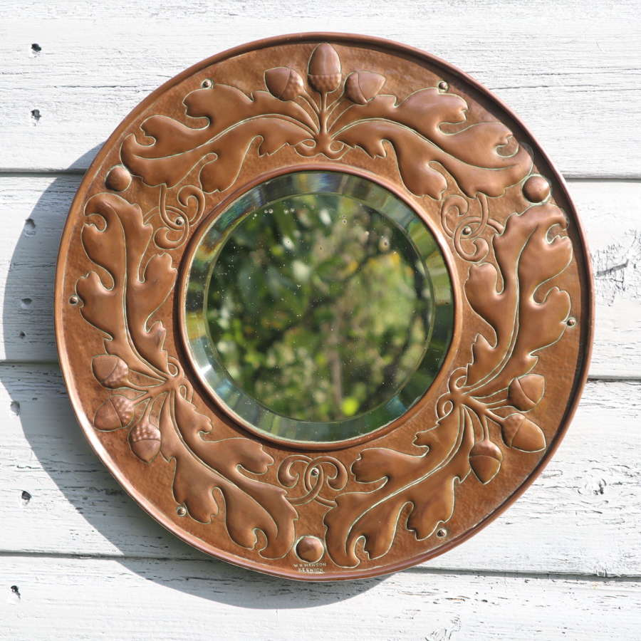 Arts & Crafts, William Mawson, Acorns & Oak leaf, copper mirror c.1910