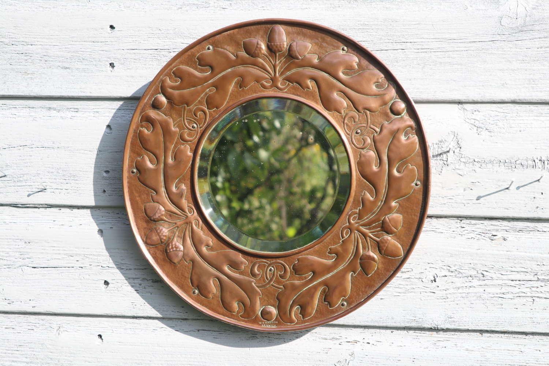 Arts & Crafts, William Mawson, Acorns & Oak leaf, copper mirror c.1910
