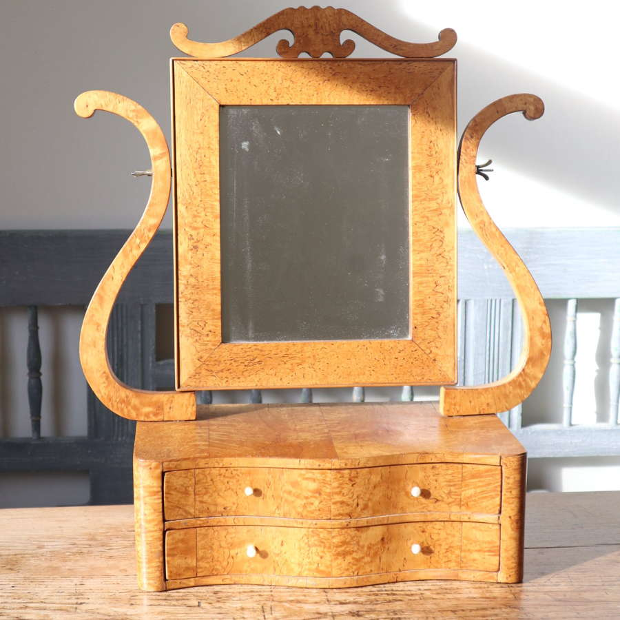 Swedish Birch/Masurbjörk Box Mirror Rococo style c.1820.