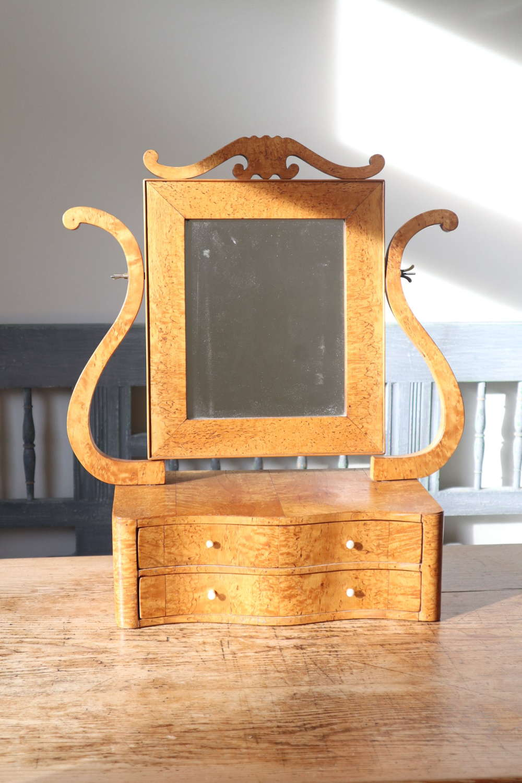 Swedish Birch/Masurbjörk Box Mirror Rococo style c.1820.
