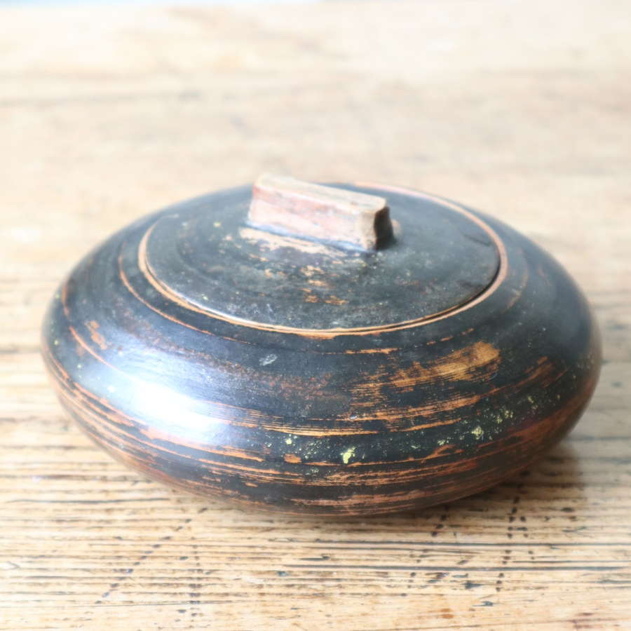 Swedish 'Folk Art' black painted sliding-lid bowl c.1865