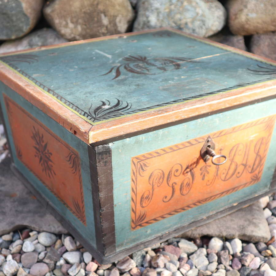 Swedish 'Folk Art' original blue black painted rosmålning box, 1848.