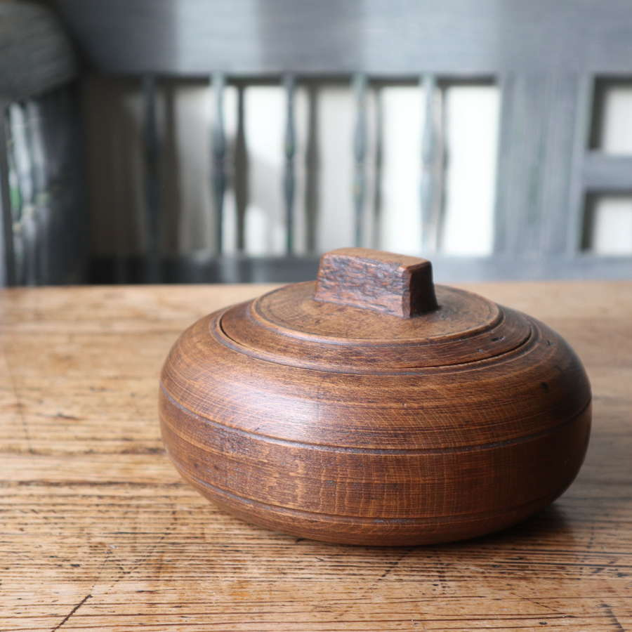 Swedish 'Folk Art' Large wooden sliding-lid bowl late 19th Century.