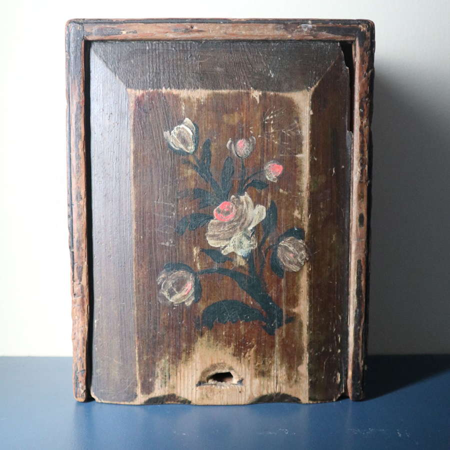 Swedish 'Folk Art' Original Rosmålning Timplåda/sliding lid box 1806