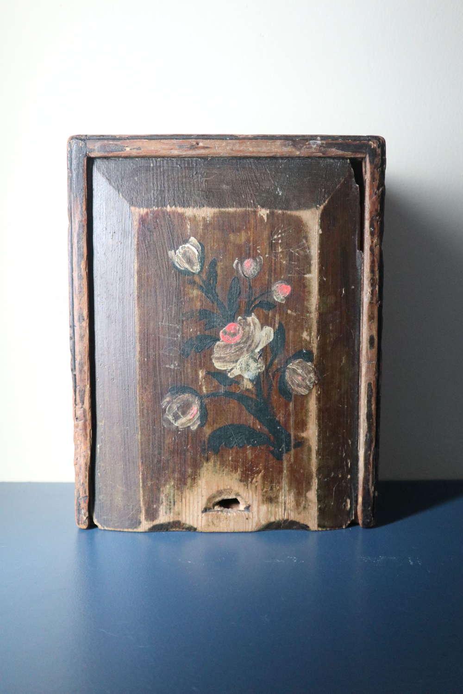 Swedish 'Folk Art' Original Rosmålning Timplåda/sliding lid box 1806