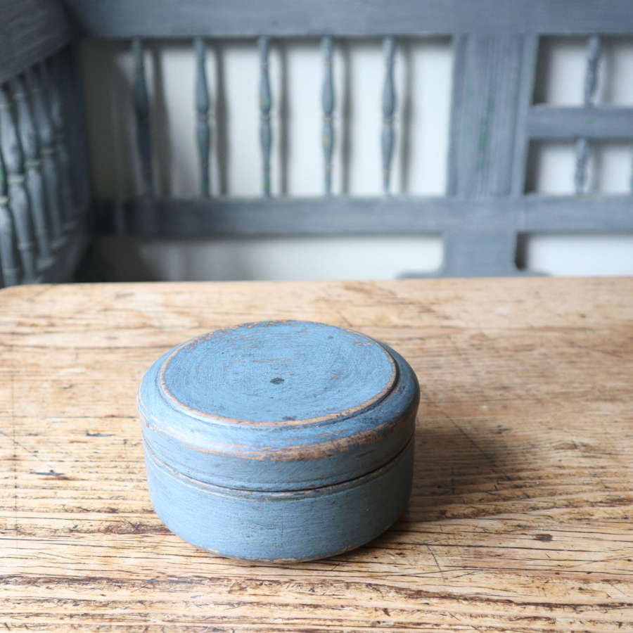 Swedish 'Folk Art' original blue painted wooden storage box 1802.