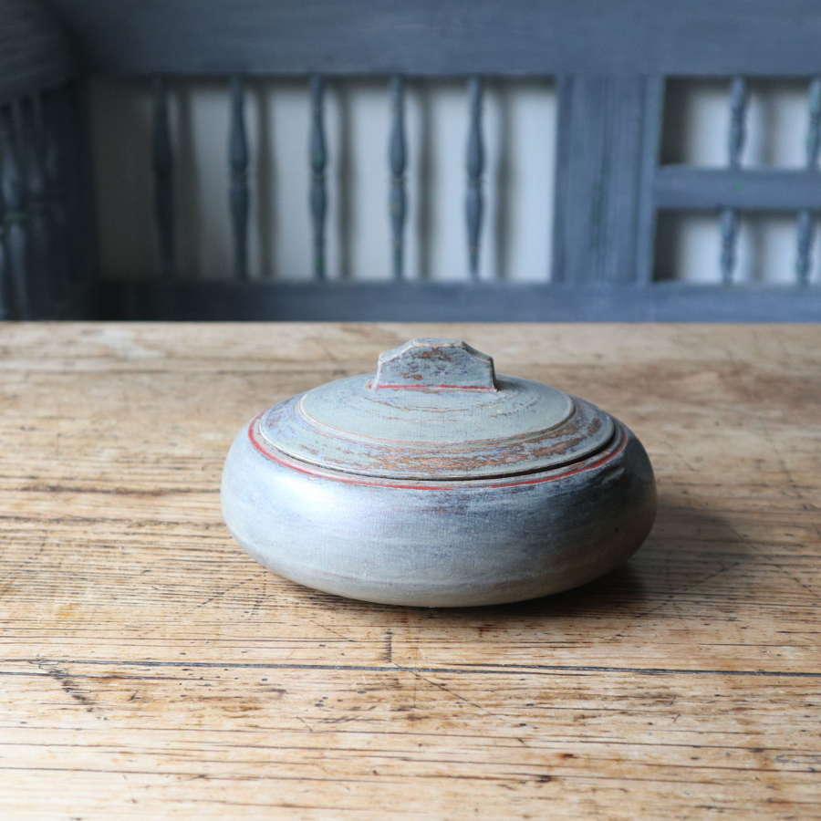 Swedish 'Folk Art' original paint grey / green & red wooden bowl 1843