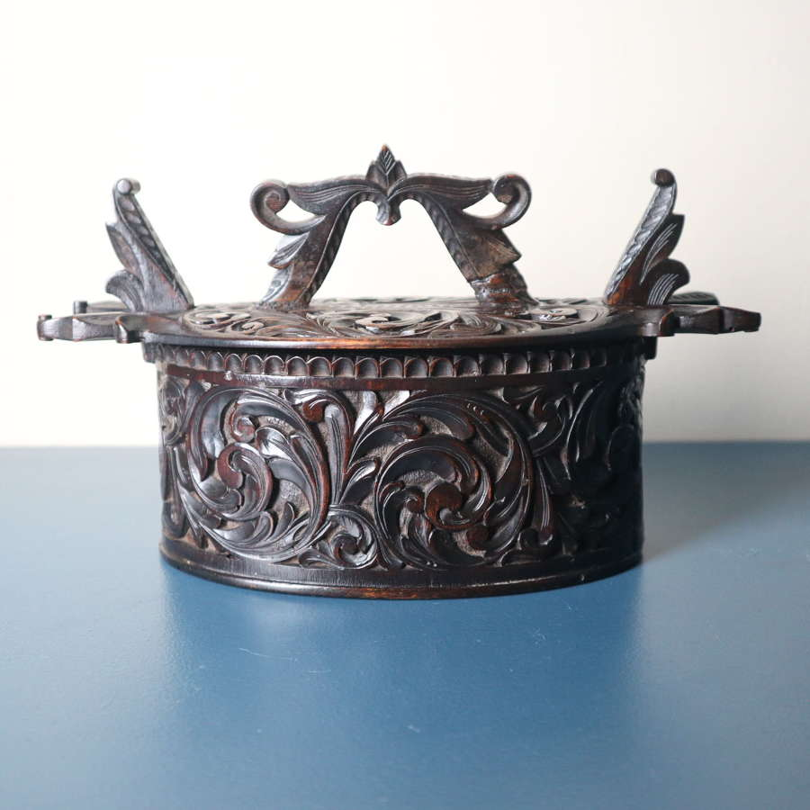 Norwegian 'Folk Art' Baroque / Acanthus carved tine box c.1885