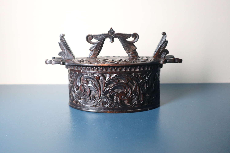 Norwegian 'Folk Art' Baroque / Acanthus carved tine box c.1885