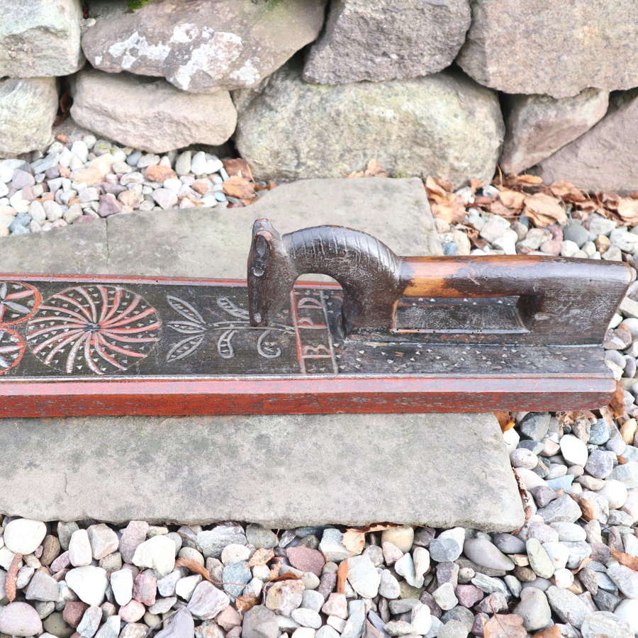 Danish 'Folk Art' Horse handle mangle board, chip carved BPD c.1820