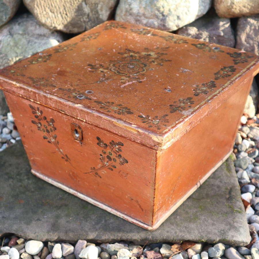 Swedish 'Folk Art' Bridal/dowry Box, Jämtland, rosmålning c.1800