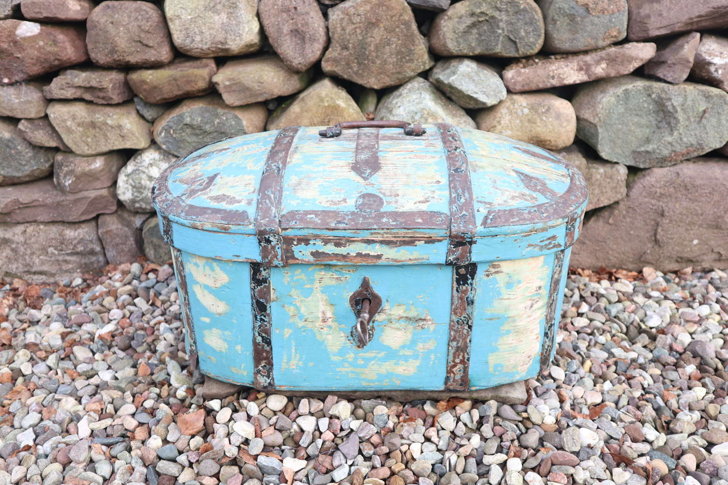 Swedish 'Folk Art' Travel chest in blue paint & ironwork 18th Century