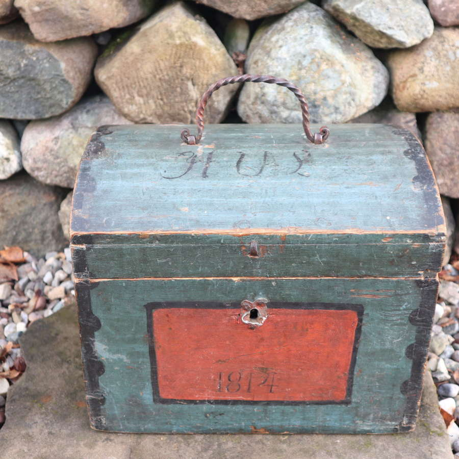 Swedish 'Folk Art' Small blue-black Hälsingland, table chest box 1814