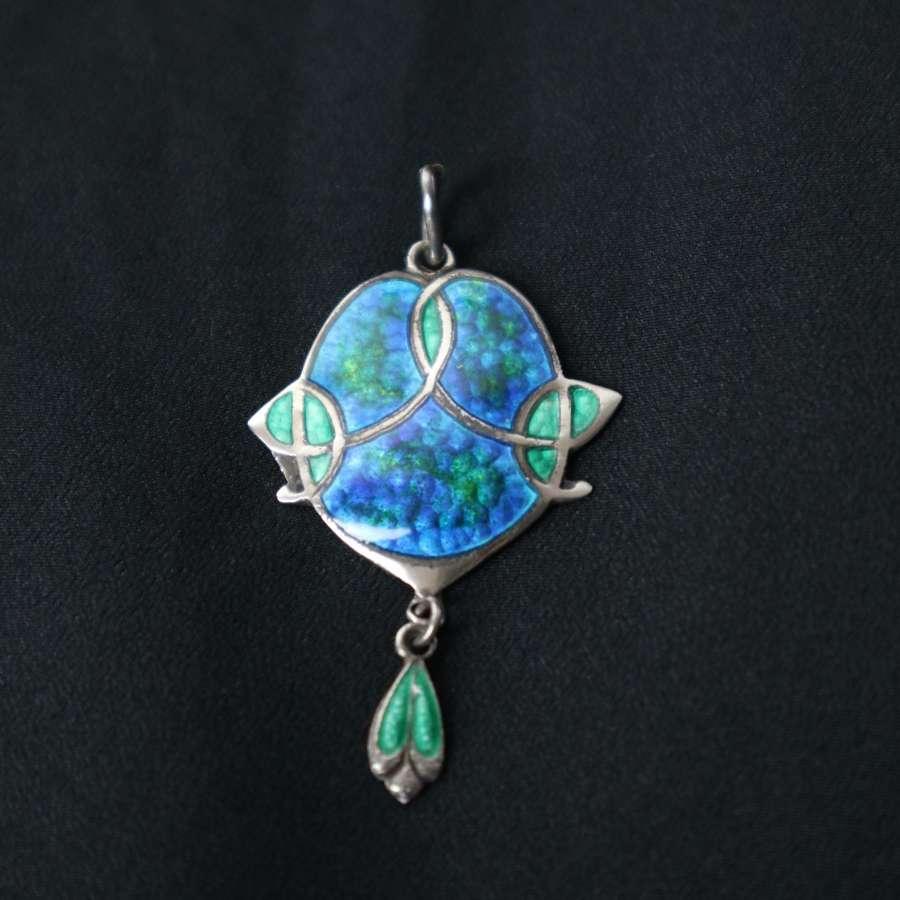 Art Nouveau Turquoise Enamelled Silver Pendant, James Fenton 1909.