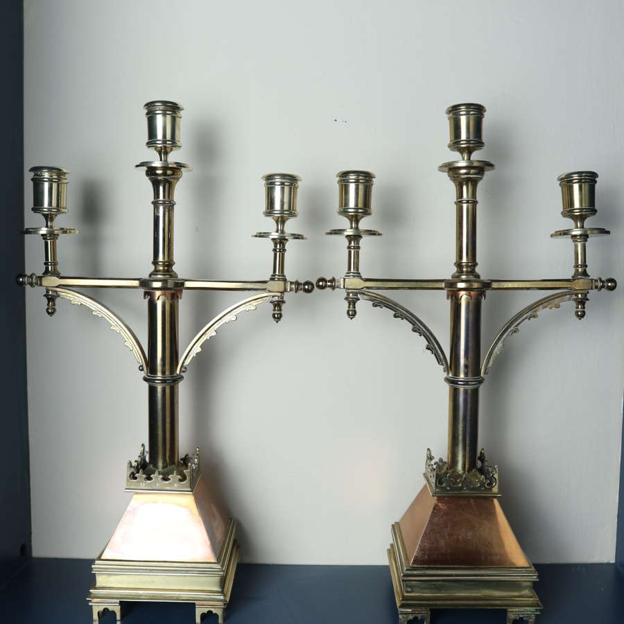 'Gothic Revival' church altar brass triple branch candelabra c.1885