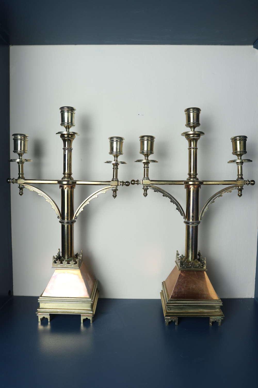 'Gothic Revival' church altar brass triple branch candelabra c.1885