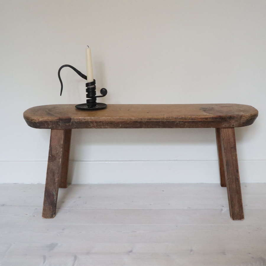 Swedish 'Folk Art' small wooden bench / stool late 19th Century