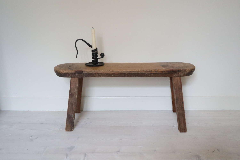 Swedish 'Folk Art' small wooden bench / stool late 19th Century