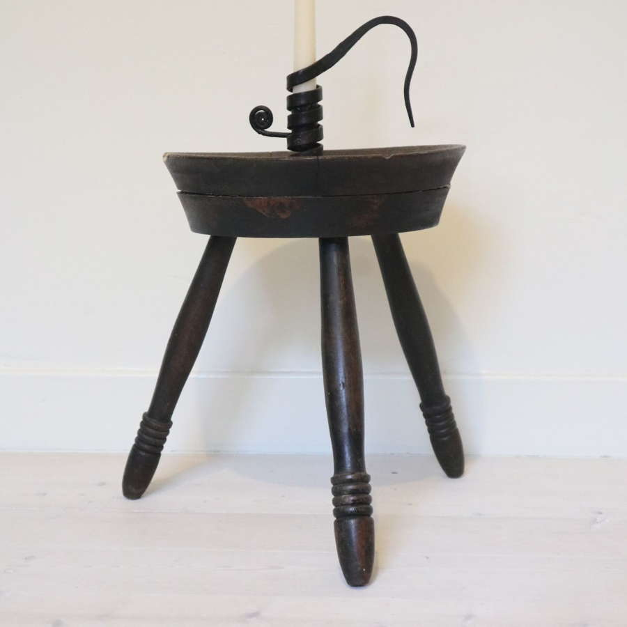 Scottish three-legged cheese top, wooden milking stool, 19th Century