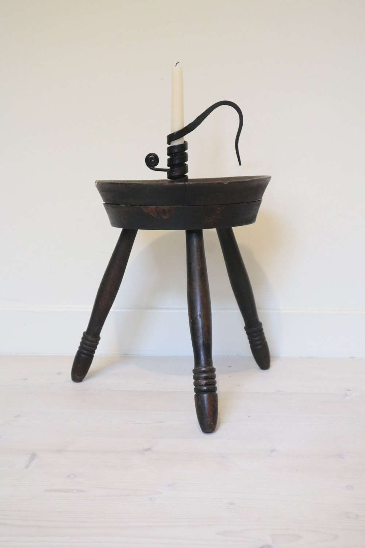 Scottish three-legged cheese top, wooden milking stool, 19th Century