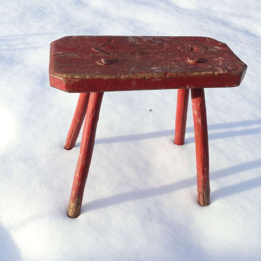 Swedish 'Folk Art' large stool original red paint marked, 1831