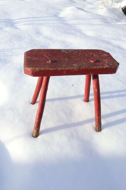 Swedish 'Folk Art' large stool original red paint marked, 1831