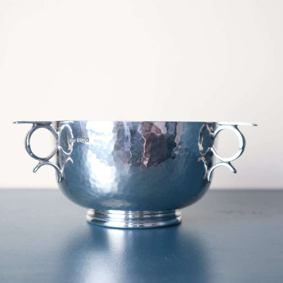 Arts & Crafts style Silver three-handled bowl, James Dixon & Sons 1912