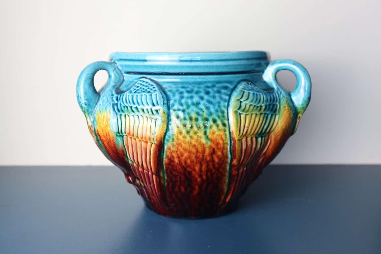 Arts & Crafts Ault art-pottery tri-handled jardinière c.1890-1900