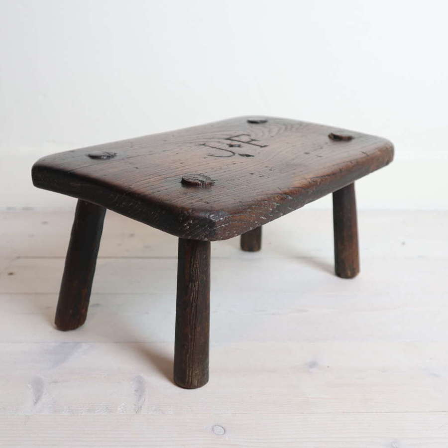 19th Century English vernacular, Elm candle stand / country stool 1882